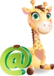 Baby Giraffe Cartoon Vector Character - with Email sign