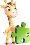 Baby Giraffe Cartoon Vector Character - with Puzzle