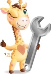 Baby Giraffe Cartoon Vector Character - with Repairing tool wrench
