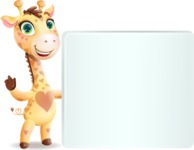 Baby Giraffe Cartoon Vector Character - Holding a Blank sign and Pointing