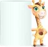 Baby Giraffe Cartoon Vector Character - Showing Big Blank banner