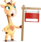 Baby Giraffe Cartoon Vector Character - with Blank Real estate sign