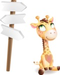 Baby Giraffe Cartoon Vector Character - on a Crossroad with sign pointing in all directions