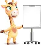 Baby Giraffe Cartoon Vector Character - with a Blank Presentation board