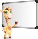 Baby Giraffe Cartoon Vector Character - Making a Presentation on a Blank white board