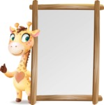 Baby Giraffe Cartoon Vector Character - Making peace sign with Big Presentation board