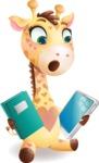 Baby Giraffe Cartoon Vector Character - Choosing between Book and Tablet