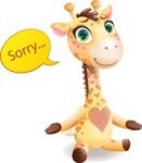 Baby Giraffe Cartoon Vector Character - Feeling sorry