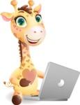Baby Giraffe Cartoon Vector Character - Holding a laptop
