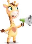 Baby Giraffe Cartoon Vector Character - Holding a Loudspeaker