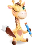 Baby Giraffe Cartoon Vector Character - Holding a notepad with pencil