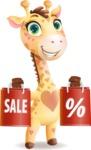 Baby Giraffe Cartoon Vector Character - Holding shopping bags