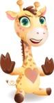Baby Giraffe Cartoon Vector Character - Making stop gesture with both hands