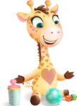 Baby Giraffe Cartoon Vector Character - Playtime