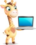 Baby Giraffe Cartoon Vector Character - Presenting on laptop
