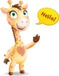 Baby Giraffe Cartoon Vector Character - Waving for Hello with a hand
