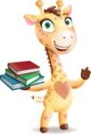 Baby Giraffe Cartoon Vector Character - with Books