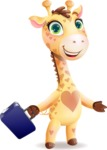 Baby Giraffe Cartoon Vector Character - with Briefcase
