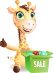 Baby Giraffe Cartoon Vector Character - with Sale boxes