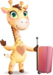 Baby Giraffe Cartoon Vector Character - with Suitcase
