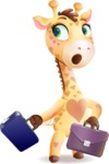 Baby Giraffe Cartoon Vector Character - with Two briefcases