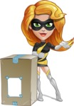 Attractive Superhero Girl Cartoon Vector Character AKA Jess Thunderstorm - Delivery