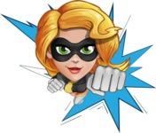 Attractive Superhero Girl Cartoon Vector Character AKA Jess Thunderstorm - Shape 1