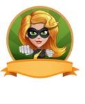 Attractive Superhero Girl Cartoon Vector Character AKA Jess Thunderstorm - Shape 4