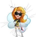 Attractive Superhero Girl Cartoon Vector Character AKA Jess Thunderstorm - Shape 9