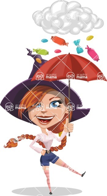Beautiful Witch Girl Cartoon Vector Character - and Candies Raining Concept