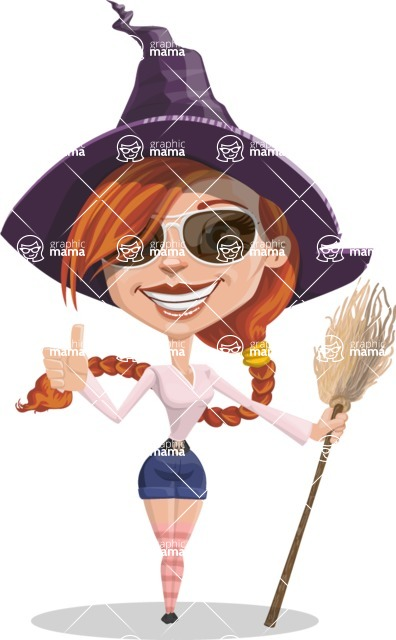 Beautiful Witch Girl Cartoon Vector Character - Being Cool Witch with Broom