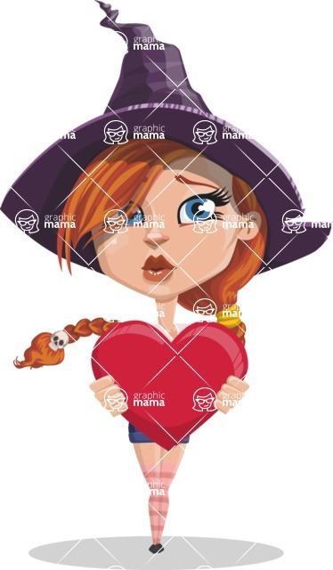 Beautiful Witch Girl Cartoon Vector Character - Being Cute with Love Heard