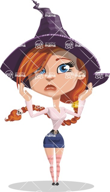 Beautiful Witch Girl Cartoon Vector Character - Feeling Confused