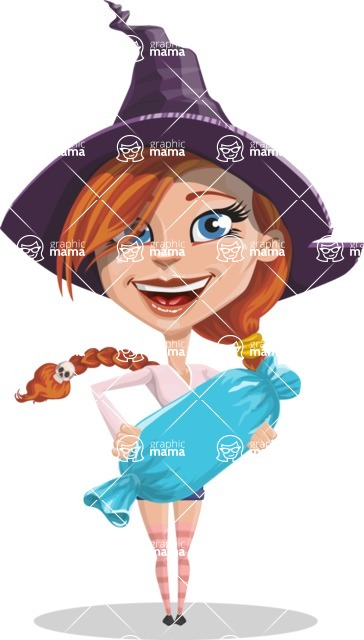 Beautiful Witch Girl Cartoon Vector Character - Holding a Treat
