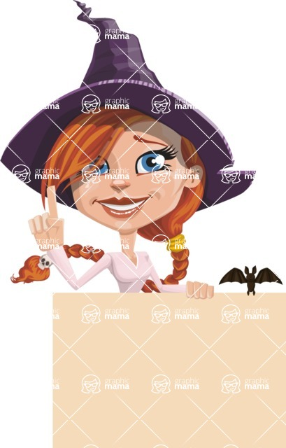 Beautiful Witch Girl Cartoon Vector Character - Holding Blank Presentation Sign and Making a Point