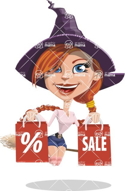 Beautiful Witch Girl Cartoon Vector Character - Holding Shopping Bags