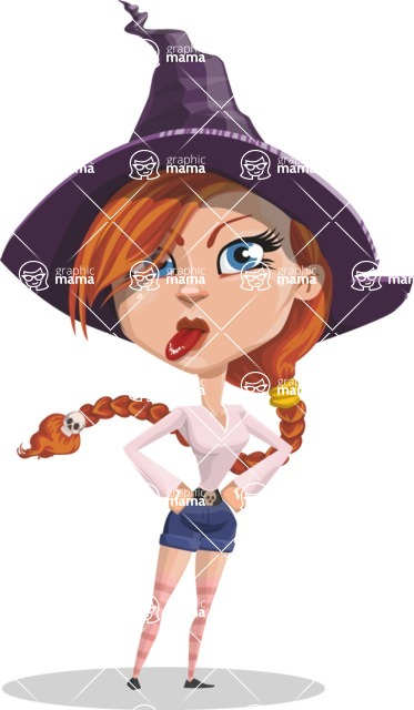 Beautiful Witch Girl Cartoon Vector Character - Making a Funny Face
