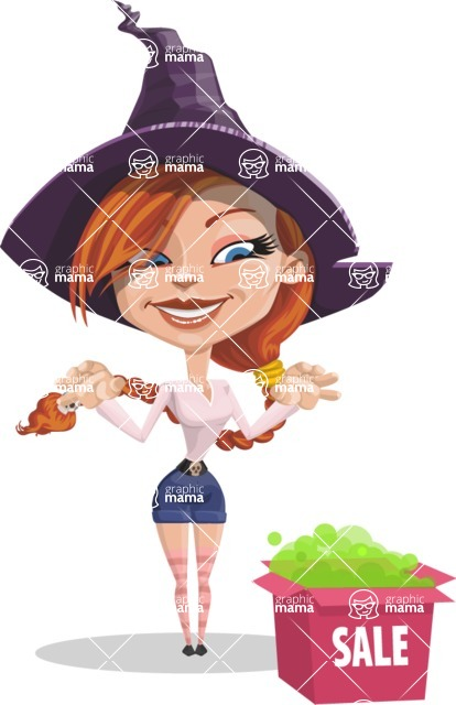 Beautiful Witch Girl Cartoon Vector Character - On a Sale