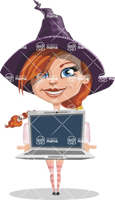 Beautiful Witch Girl Cartoon Vector Character - Showing a Laptop