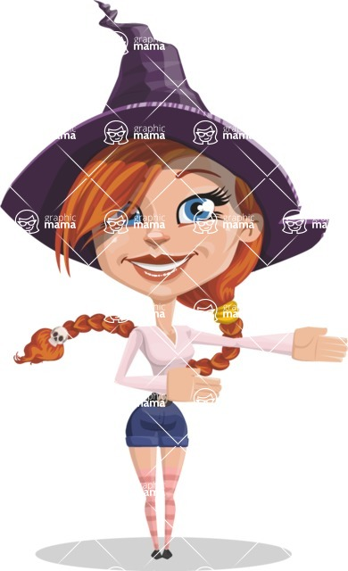 Beautiful Witch Girl Cartoon Vector Character - Showing witha Smile