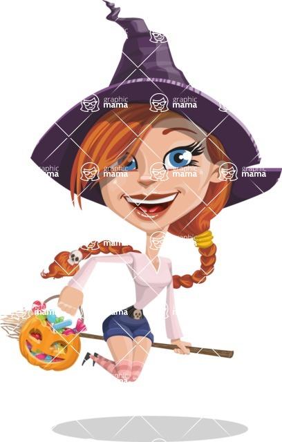 Beautiful Witch Girl Cartoon Vector Character - On a Broom with Halloween Pumpkin