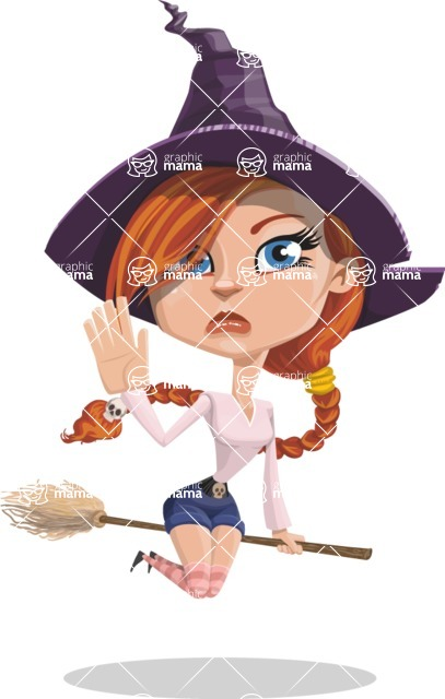 Beautiful Witch Girl Cartoon Vector Character - Waving for Goodbye with a Hand