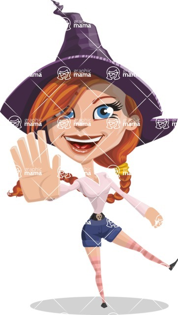 Beautiful Witch Girl Cartoon Vector Character - Waving for Welcome with a Hand