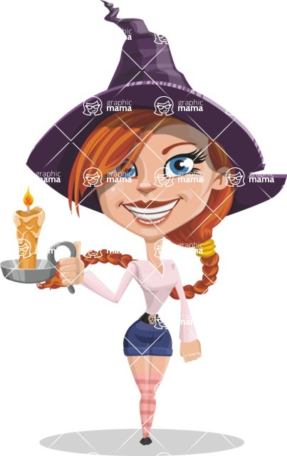 Beautiful Witch Girl Cartoon Vector Character - With a Candle