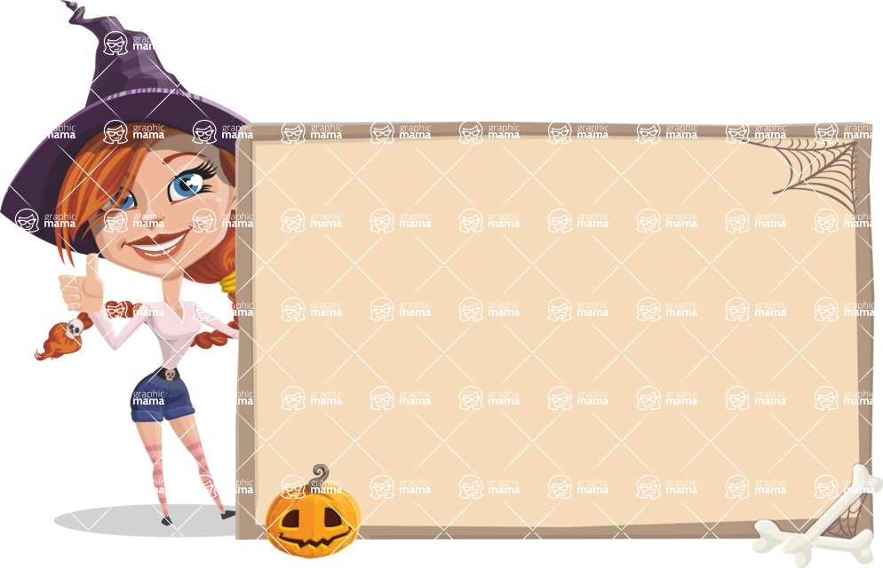 Beautiful Witch Girl Cartoon Vector Character - With Blank Halloween Whiteboard