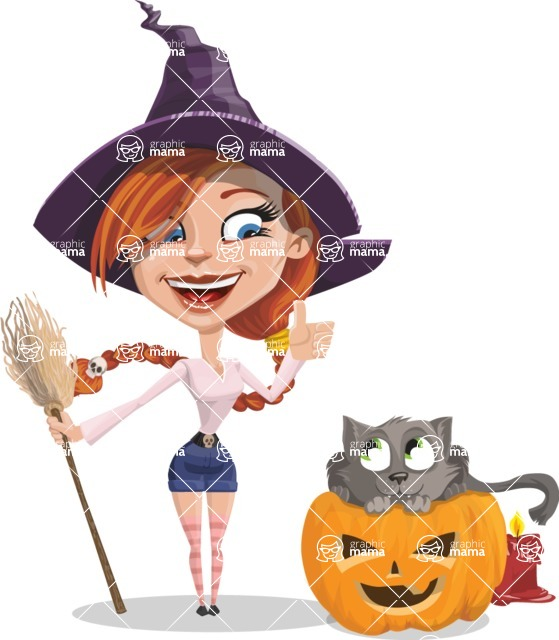 Beautiful Witch Girl Cartoon Vector Character - With Cat