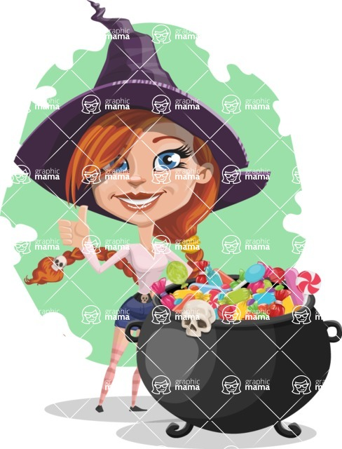 Beautiful Witch Girl Cartoon Vector Character - With Cool Concept Background