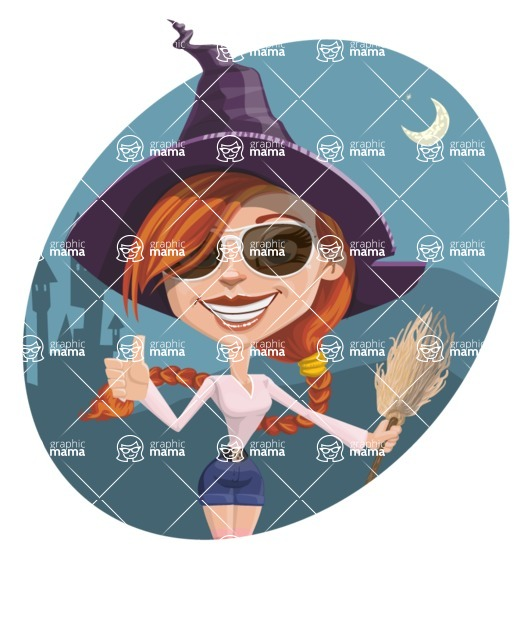 Beautiful Witch Girl Cartoon Vector Character - With Dark Night Background