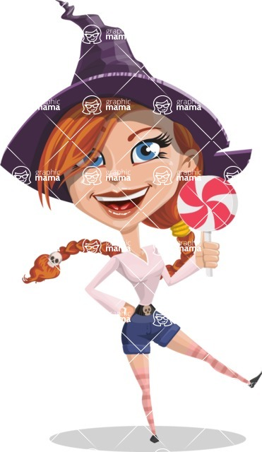 Beautiful Witch Girl Cartoon Vector Character - With Halloween Candy