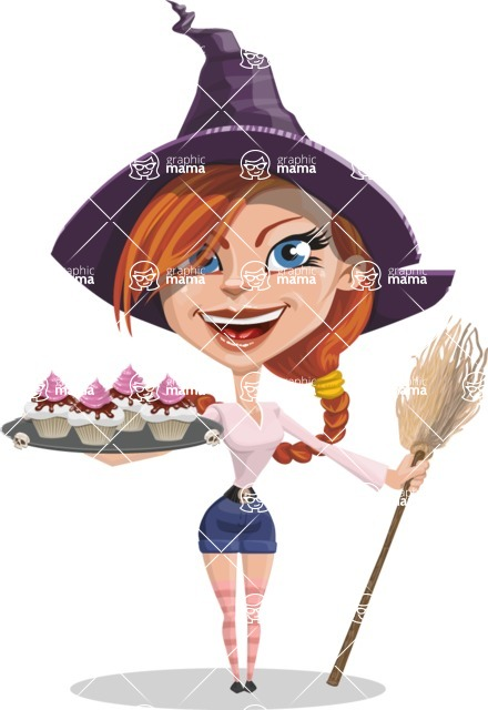 Beautiful Witch Girl Cartoon Vector Character - With Halloween Sweets
